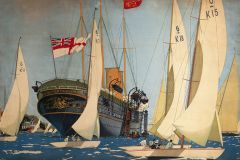 The Royal Yacht 'Victoria and Albert' surrounded by smaller yachts at Cowes Week, Isle of Wight. Trimmed poster showing artwork only. Artwork by Kenneth Shoesmith (1890-1939).